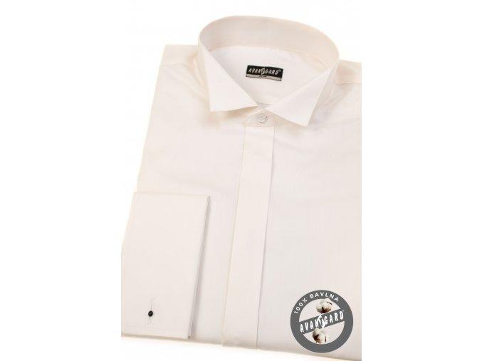 Smetanová pánská fraková slim fit košile, dl. rukáv na manž. knoflíčky, 155-206