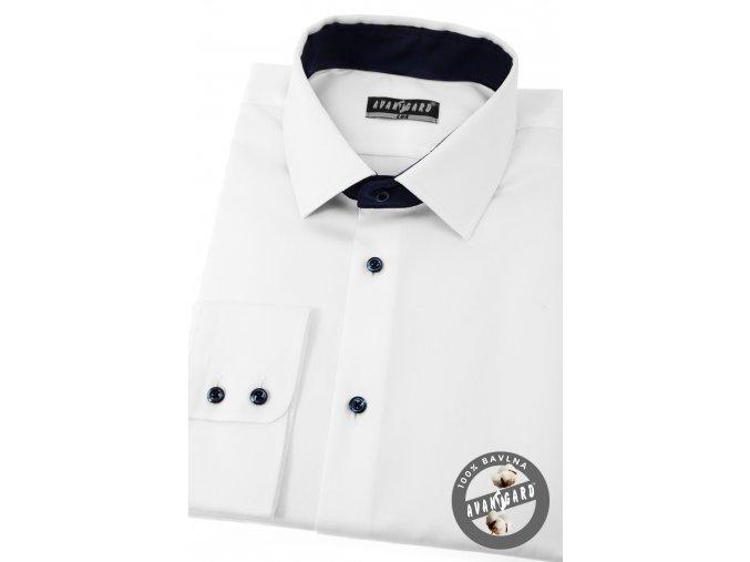 Bílá pánská košile s tmavými knoflíčky, dl.rukáv, 509-9131
