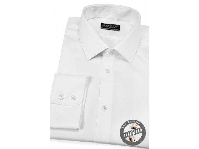 Bílá pánská jednobarevná košile, dl.rukáv, 509-91