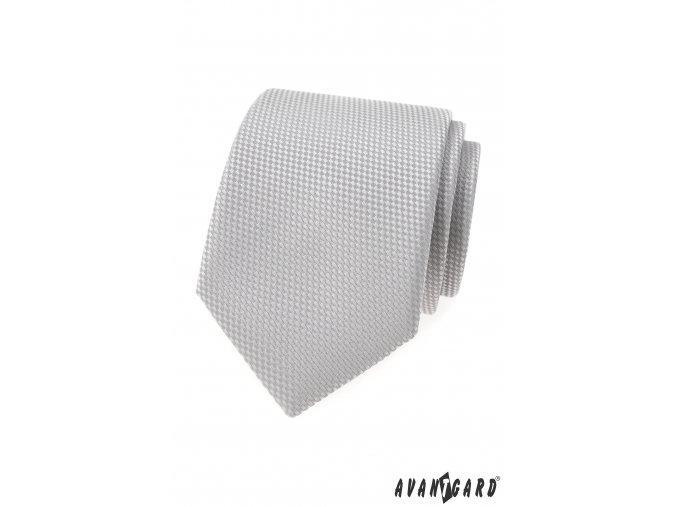 Šedá luxusní kravata s šachovnicovým vzorkem stejné barvy