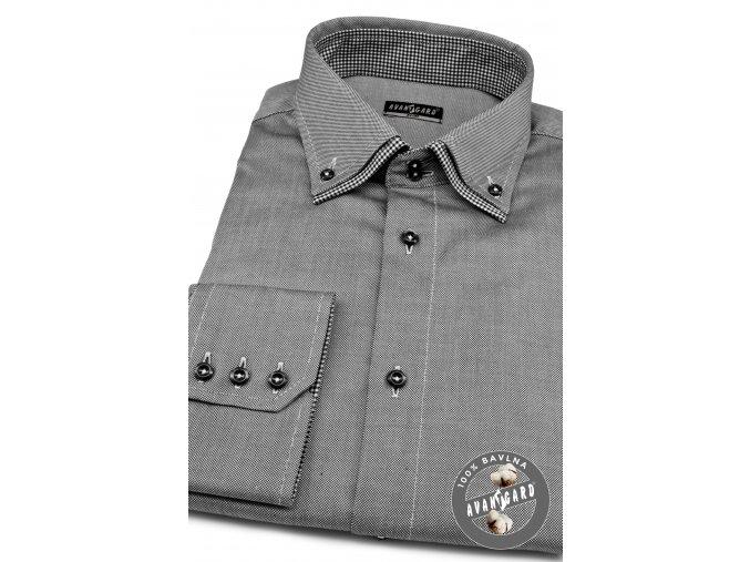 Šedá slim fit pánská košile, dl.rukáv, 130-2223