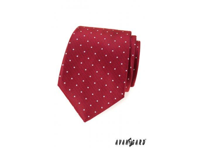 Červená luxusní kravata s bílými puntíky