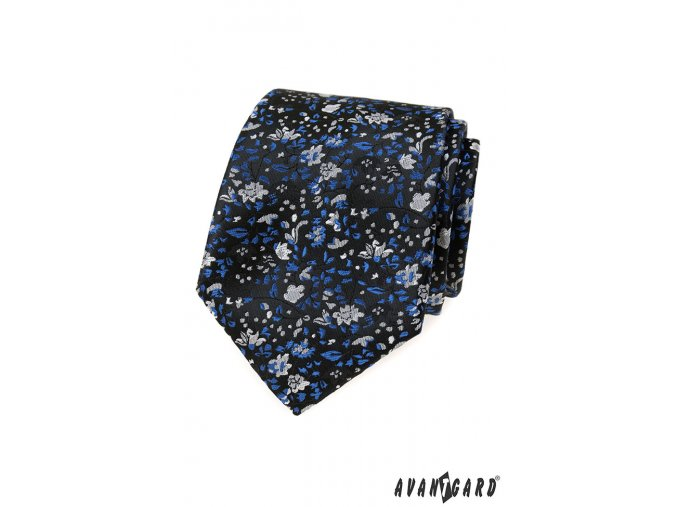 Velmi tmavě modrá luxusní kravata s květy