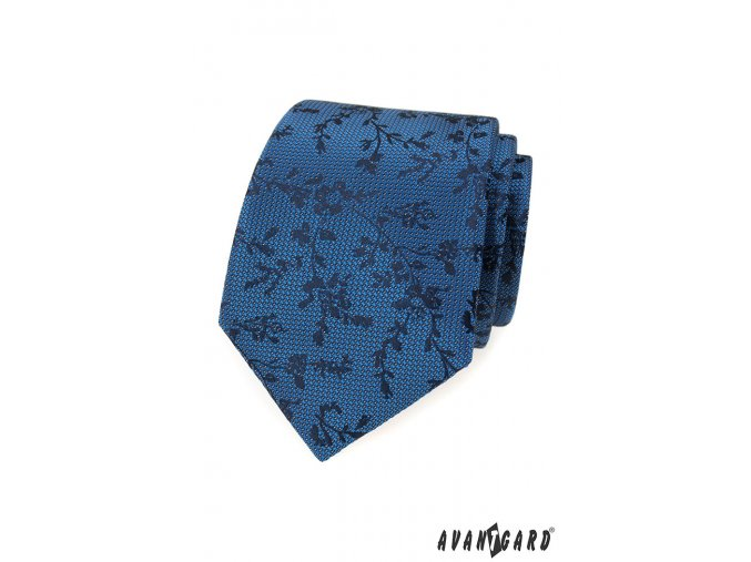 Modrá luxusní kravata s tmavými květy