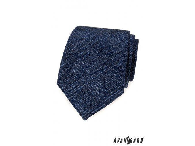 Tmavě modrá luxusní kravata s kárem