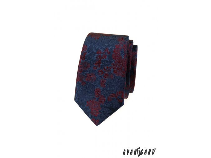 Modrá slim luxusní kravata s červenými květy