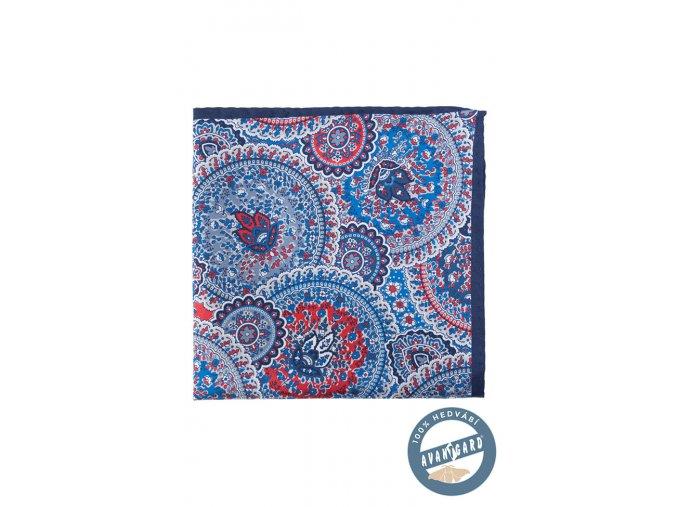 Modrý hedvábný kapesníček do saka se vzorem