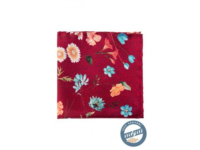 Bordó hedvábný kapesníček do saka s květy