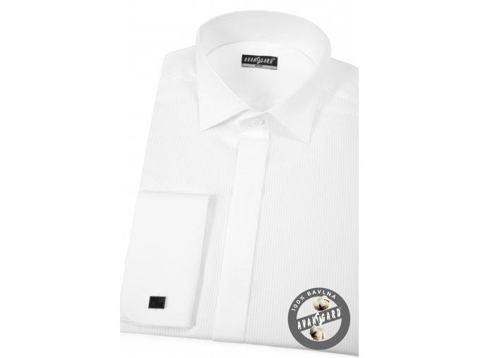 Bílá pánská košile slim fit - FRAKOVKA s krytou légou, dl. rukáv s dvojitými manžetami, 173-1