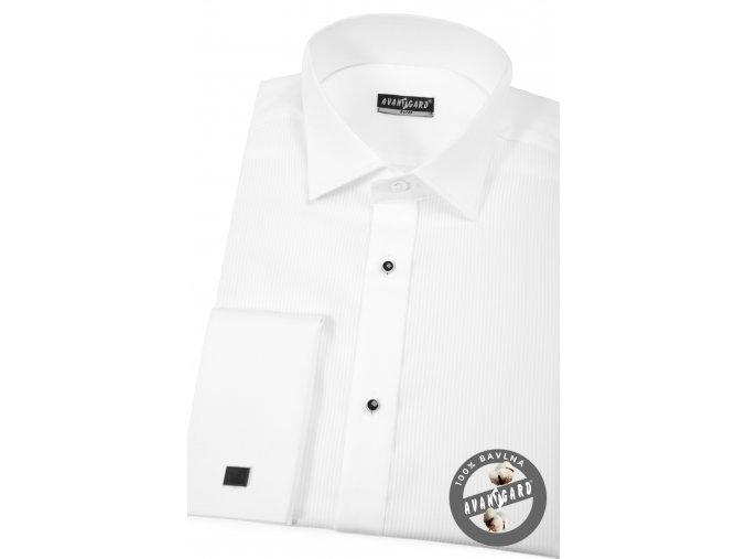 Bílá pánská košile slim fit - FRAKOVKA s propínací légou s knoflíčky, dl. rukáv s dvojitými manžetami,174-1