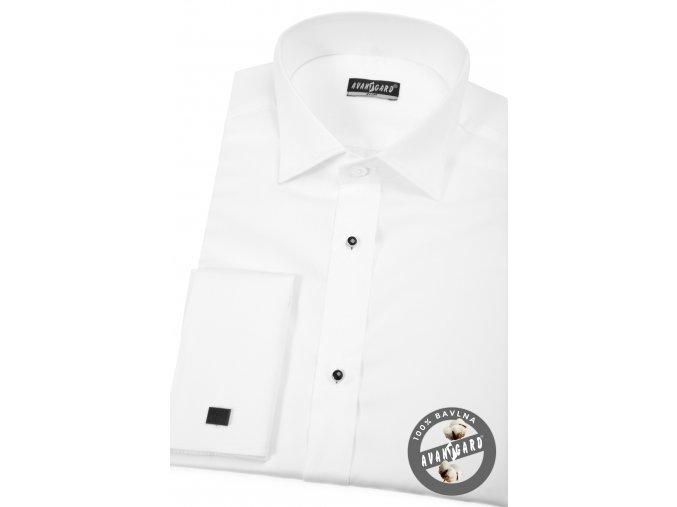 Bílá pánská košile slim fit - FRAKOVKA s propínací légou s knoflíčky, dl. rukáv s dvojitými manžetami,175-1