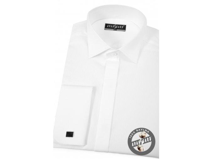 Bílá pánská košile - frakovka s krytou légou, bavlna piké, dvojité manžety, 673-1