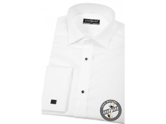Bílá pánská košile - FRAKOVKA s propínací légou s knoflíčky, dl. rukáv, dvojité manžety 675-1