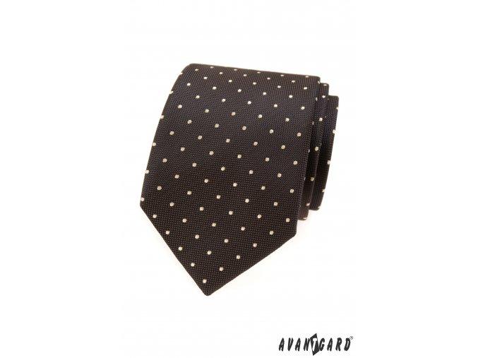 Hnědá kravata s bílými puntíky