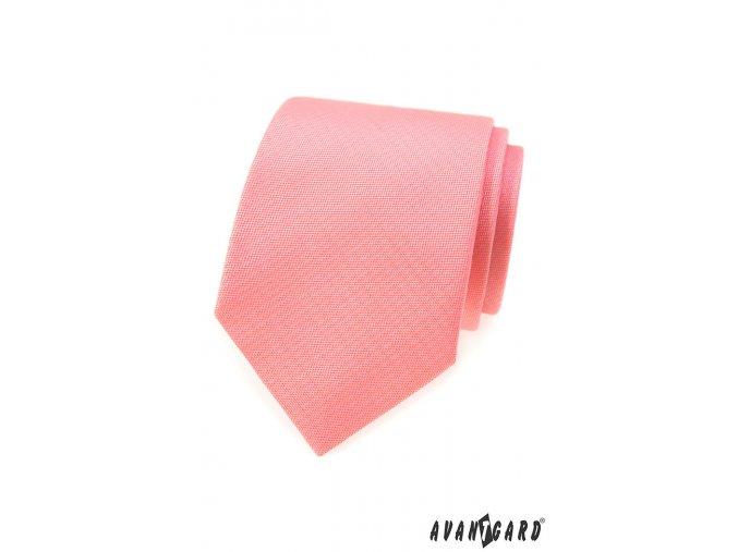 Lososová matná jednobarevná kravata
