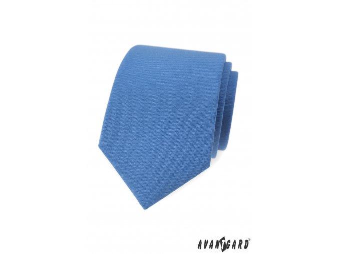 Modrá matná jednobarevná luxusní kravata