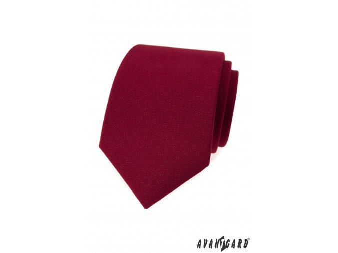 Bordó jednobarevná matná luxusní kravata