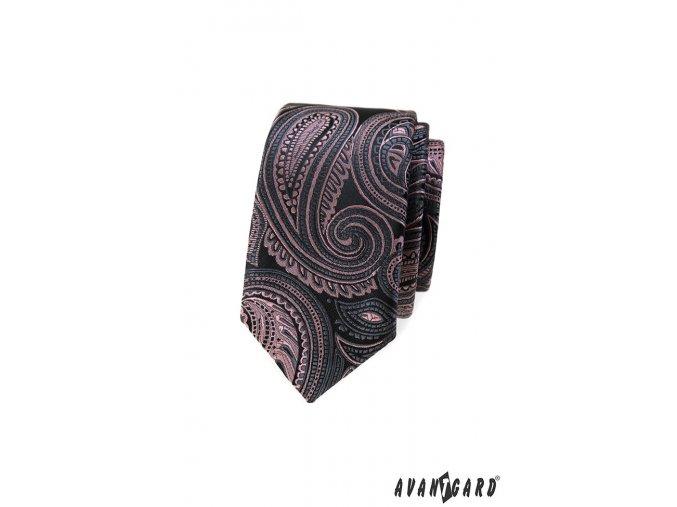 Velmi tmavě šedá luxusní slim kravata s růžovým vzorem