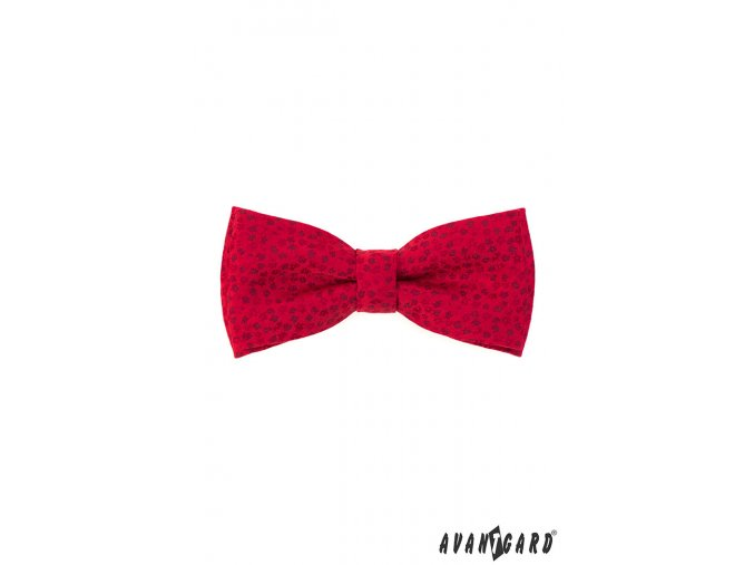 Červený vzorovaný pánský motýlek + kapesníček do saka