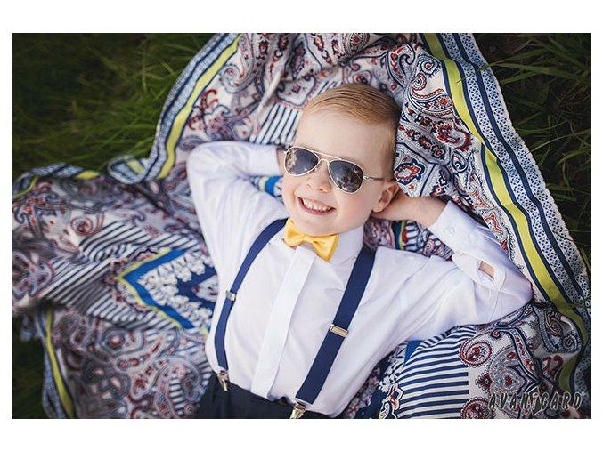 Žlutý jednobarevný chlapecký motýlek