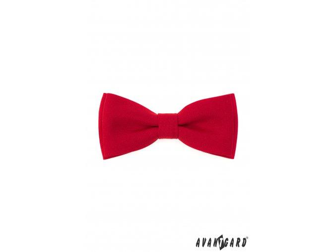 Červený jednobarevný pánský motýlek + kapesníček do saka