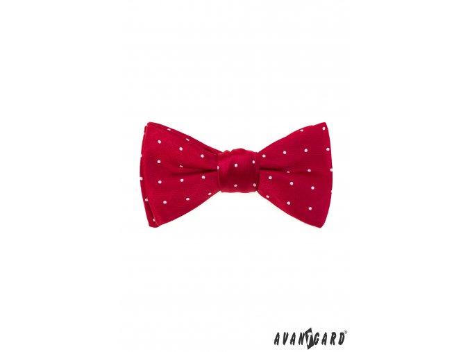 Červený pánský vázací motýlek s tečkami + kapesníček do saka