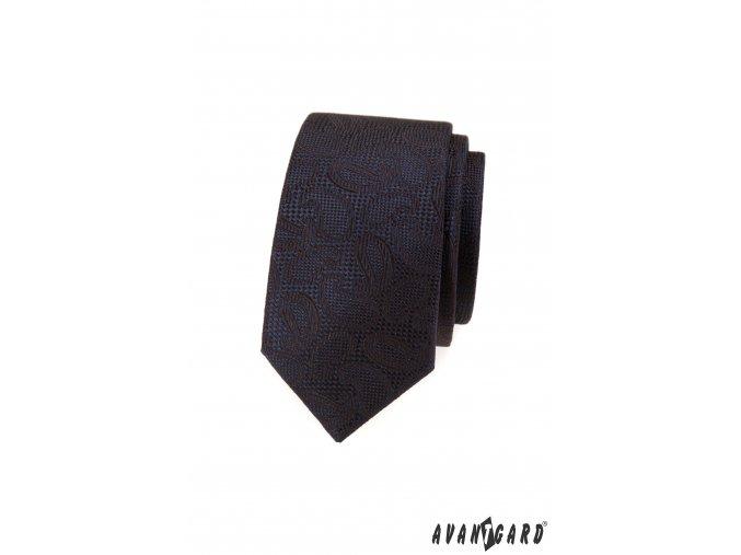Tmavě hnědá vzorovaná luxusní slim kravata