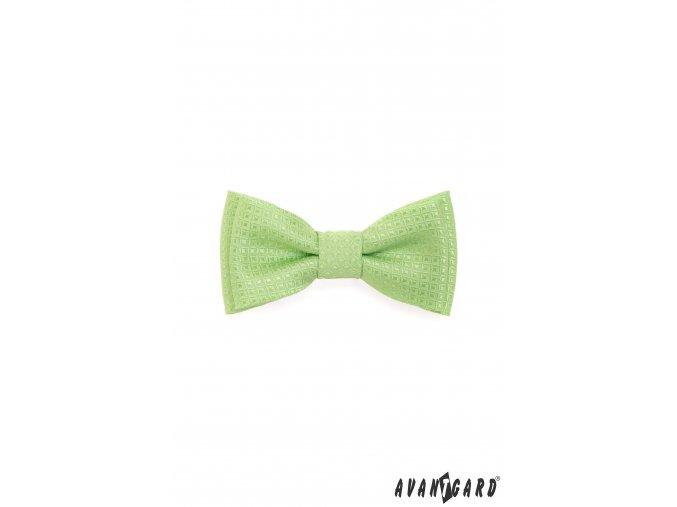 Světle zelený MINI chlapecký motýlek se vzorem