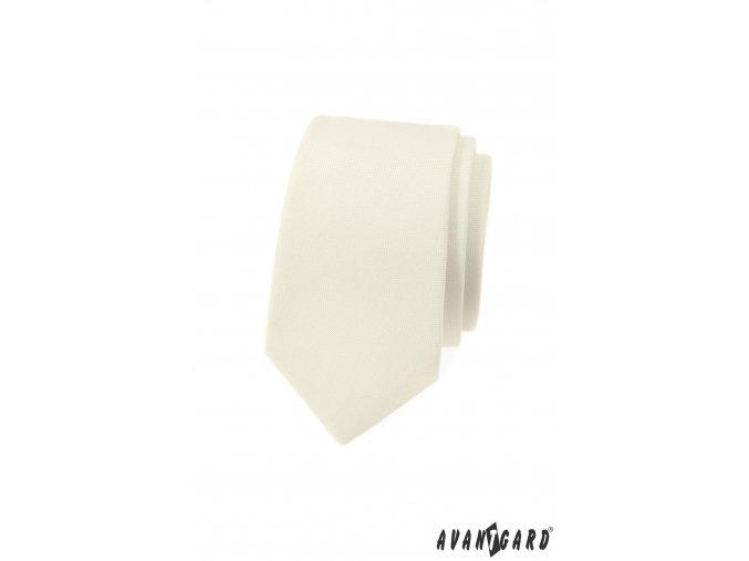 Smetanová luxusní pánská slim kravata