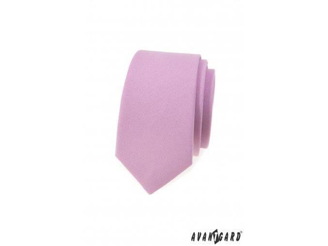 Lila matná luxusní slim kravata