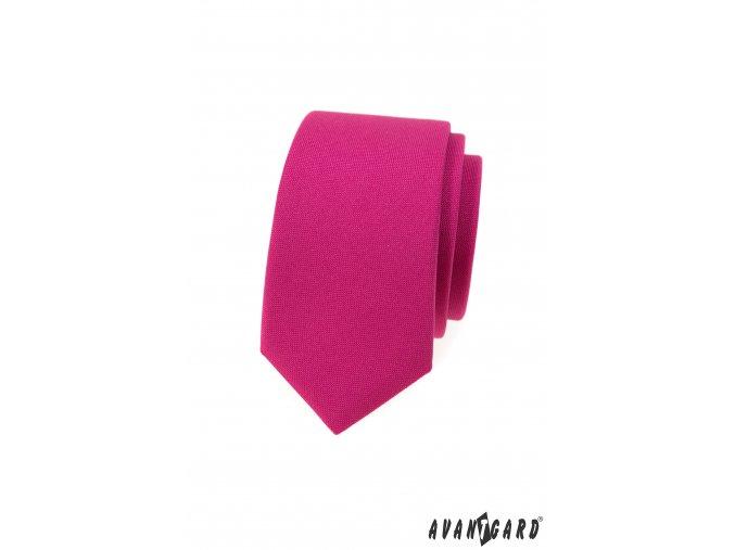 Fuchsiová matná luxusní slim kravata