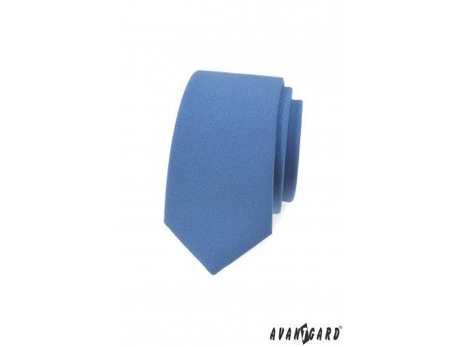 Světle modrá matná luxusní slim kravata
