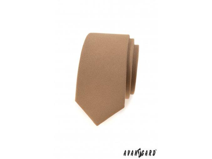 Světle hnědá matná luxusní slim kravata