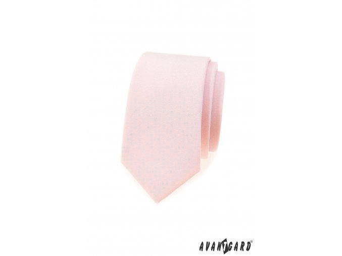 Lososová matná luxusní slim kravata