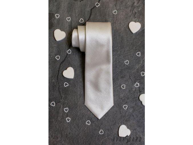 Stříbrná jemně žíhaná luxusní pánská kravata