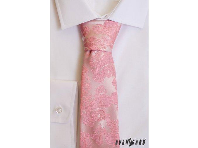Růžová luxusní pánská kravata se vzorem