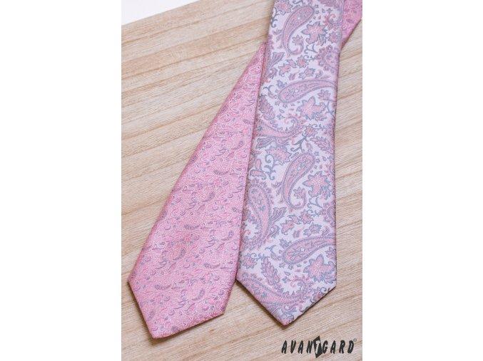 Růžová luxusní pánská kravata se světle šedým vzorkem