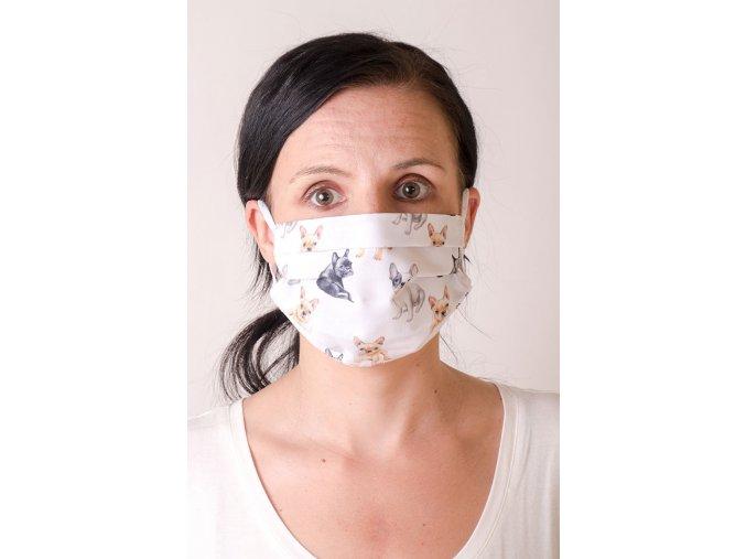 Bílá dámská ochranná rouška na obličej se vzorem - Buldoček (s gumičkami)