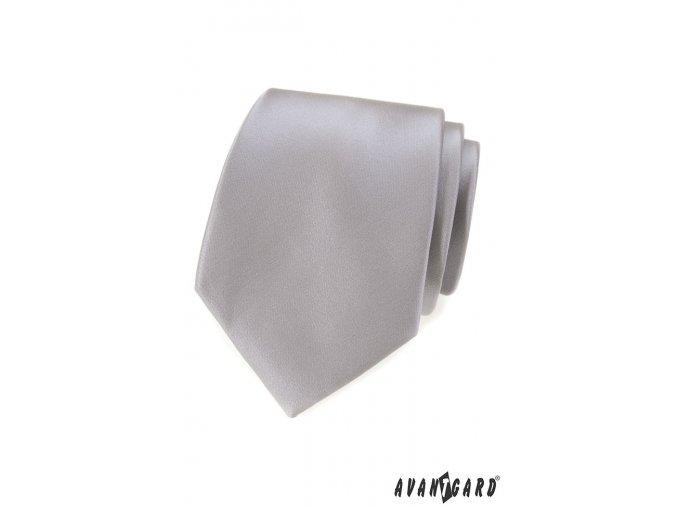Šedá luxusní pánská kravata s hladkým povrchem