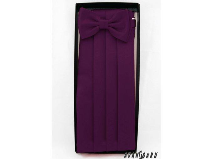 Tmavě fialový frakový pás s motýlkem a kapesníčkem _