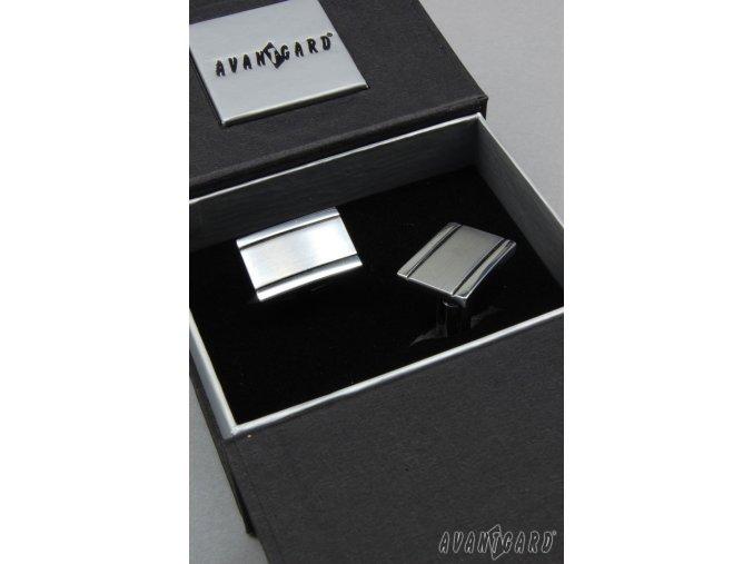 Stříbrné manžetové knoflíčky se dvěma jemnými proužky _