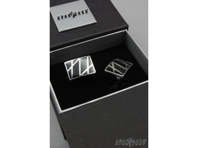 Stříbrné lesklé manžetové knoflíčky s černými pruhy