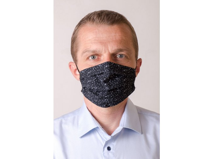 Černá pánská ochranná rouška na obličej s kapsou - Noty (s gumičkami)