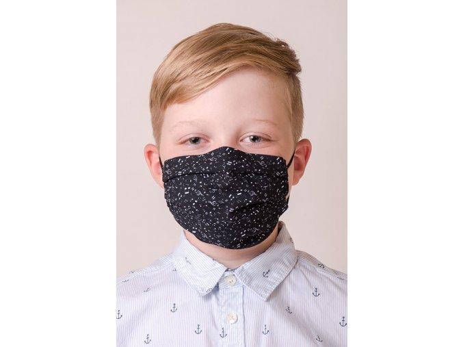 Dětská ochranná rouška na obličej s kapsou a tvarovacím drátkem - Noty (s gumičkami)