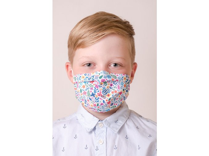 Bílá dětská ochranná rouška na obličej s kapsou a tvarovacím drátkem - Barevné květy (s gumičkami)