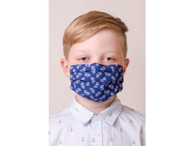 Modrá dětská ochranná rouška na obličej s kapsou a tvarovacím drátkem - Kolo (s gumičkami)