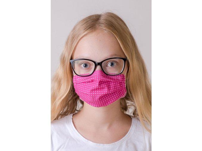 Růžová antibakteriální dětská ochranná rouška na obličej s kapsou a tvarovacím drátkem, dvouvrstvá, skládaná (s gumičkami)