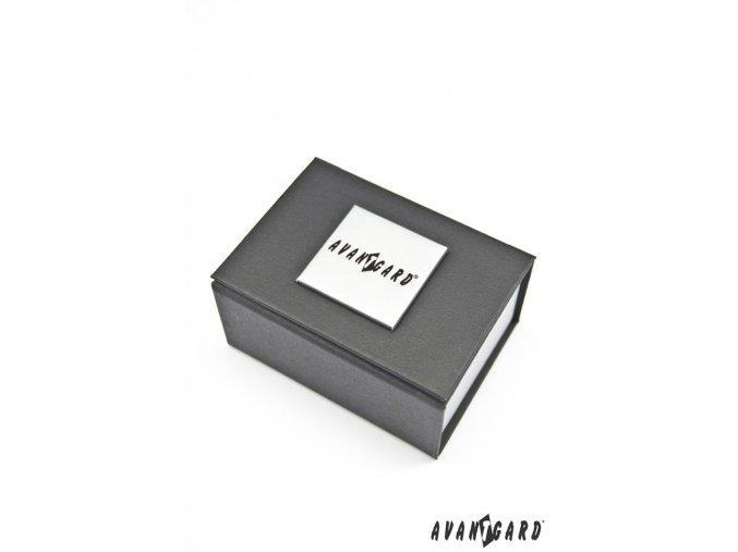 Vzorované stříbrné lesklé manžetové knoflíčky s kamínkem