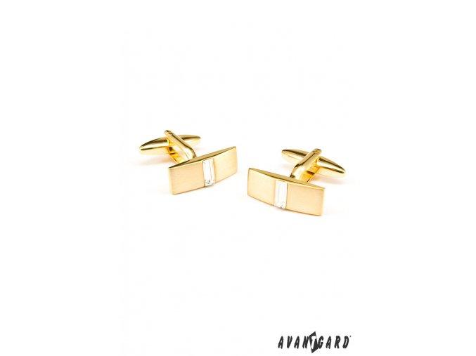 Zlaté matné obdélníkové manžetové knoflíčky s kamínkem  _