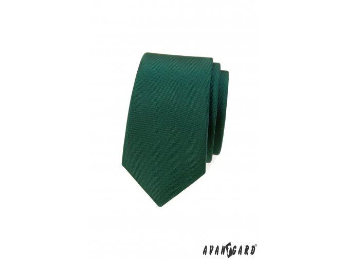 Zelená matná pánská slim kravata
